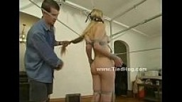 Blonde with pear like boobs bondage