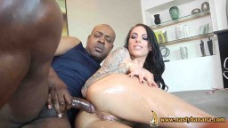 Oiled brunette asshole fucked by bbc