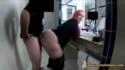 Fat ass redhead fucked in the bathroom