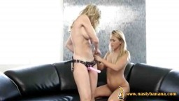 Lesbians play with strap-on